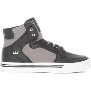 Supra Vaider Black Leather & Grey Canvas Shoes